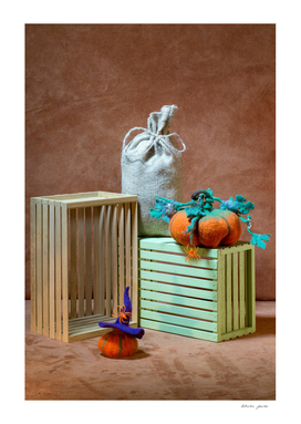 Still life with handmade pumpkins from felted wool