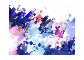 geometric splash abstract in blue and pink