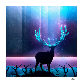 Greenery Deer - Sterling Magenta