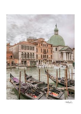 Gondolas Parked at Grand Canal, Venice, Italy