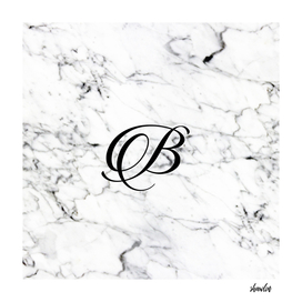 Abstract natural marble texture and alphabet B