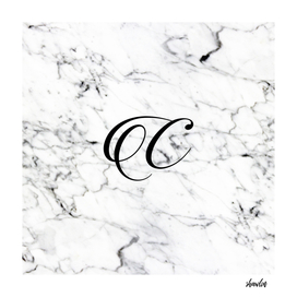 Letter C on Marble texture Initial personalized monogram
