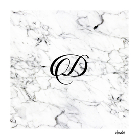 Letter D on Marble texture Initial personalized monogram