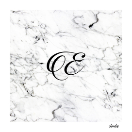 Letter E on Marble texture Initial personalized monogram