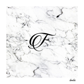 Letter F on Marble texture Initial personalized monogram