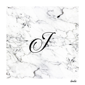 Letter J on Marble texture Initial personalized monogram