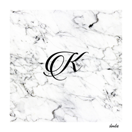 Letter K on Marble texture Initial personalized monogram