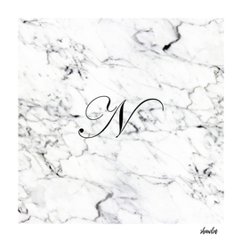 Letter N on Marble texture Initial personalized monogram