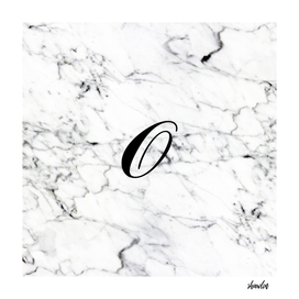 Letter O on Marble texture Initial personalized monogram