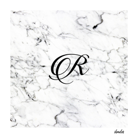 Letter R on Marble texture Initial personalized monogram