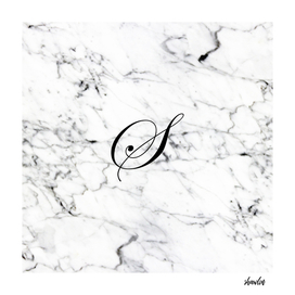 Letter S on Marble texture Initial personalized monogram
