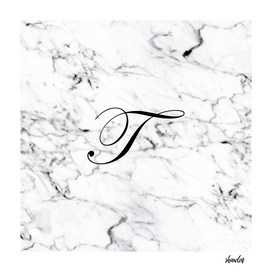 Letter T on Marble texture Initial personalized monogram