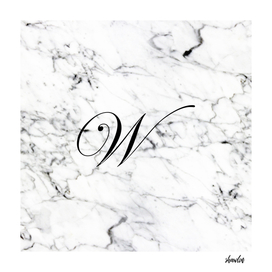 Letter W on Marble texture Initial personalized monogram