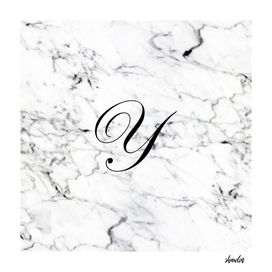Letter Y on Marble texture Initial personalized monogram