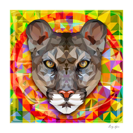 Geometric portrait of a mountain lion