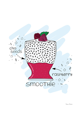Smoothie with chia seeds and raspberry.