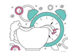 Flat vector illustration of early awakening to work.