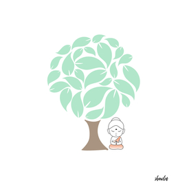 Buddha meditating under a sacred fig tree