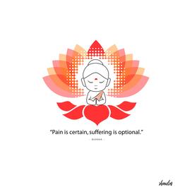 Buddha saying Namaste while sitting on a sacred lotus.