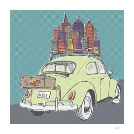 VW Beetle on a roadtrip
