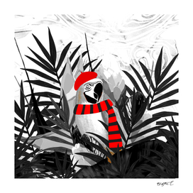Holidays Parrot Black and White Tropical