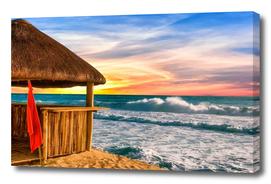 Beach Hut and Rough Seas