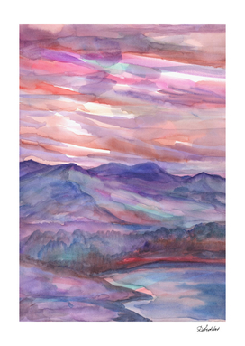 Pink mountain landscape