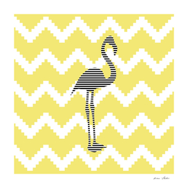 Flamingo - abstract geometric pattern - gold and white.