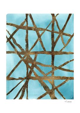 Aqua Gold Linear Abstract