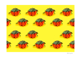 Collage of handmade pumpkins made from felt wool