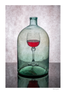 "Still life ""Inner content"" with wine glass"