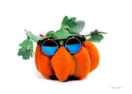 Pumpkin handmade from felted wool in glasses