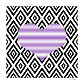Heart - geometric pattern - black and purple.