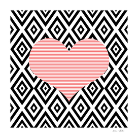 Heart - geometric pattern - black and pink.