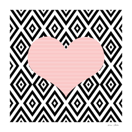 Heart - geometric pattern - black and pink