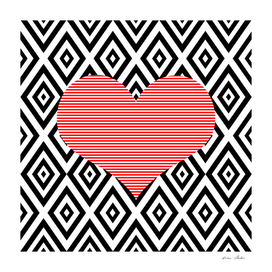 Heart - geometric pattern - black and red.
