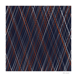 Navy and Rust Crossing Diagonal Lines