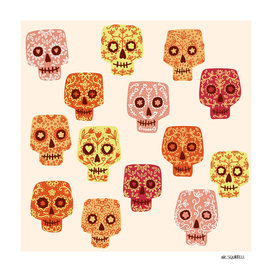 Dia de los Muertos Mexican Decorated Skull Art