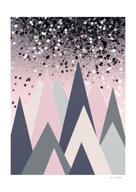 Geometric Mountains Glitter Dream #1 #minimal #decor #art