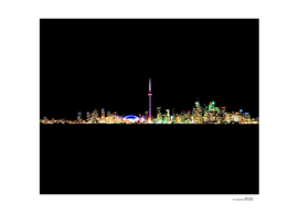 Toronto Skyline At Night From Centre Island