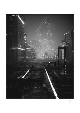 NEON CITY BLACK AND WHITE
