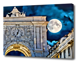 Abstract Arco da Rua Augusta at Night