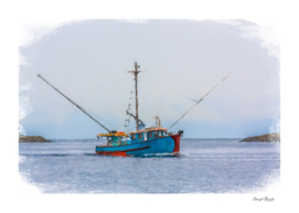 Blue Shrimp Boat on Grey Day in Oil