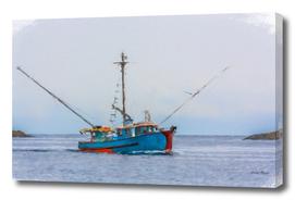 Blue Shrimp Boat on Grey Day in Oil