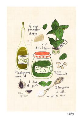 Pesto illustrated recipe.