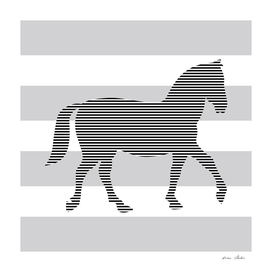 Horse - strips - gray and white