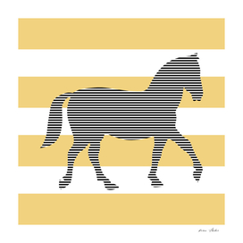 Horse - strips - beige and white