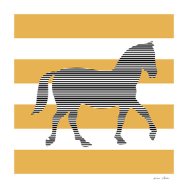 Horse - strips - bronze and white