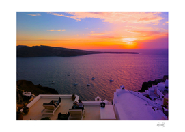 majestic sunset in oia