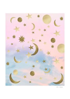 Pastel Starry Sky Moon Dream #1 #decor #art